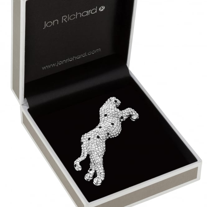 Silver Crystal Jaguar Brooch In A Gift Box