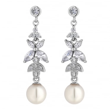 Silver crystal leaf and pearl drop earring