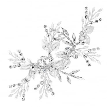 Silver Crystal Leaf Spray Hair Clip