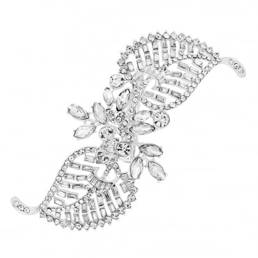 Silver Crystal Leaf Twist Hair Clip