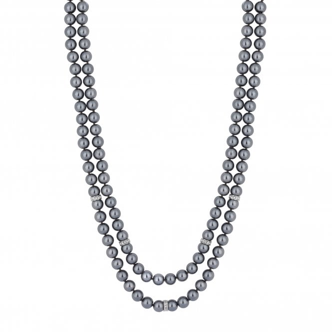 Silver Crystal Link And Grey Pearl Multi Row Necklace