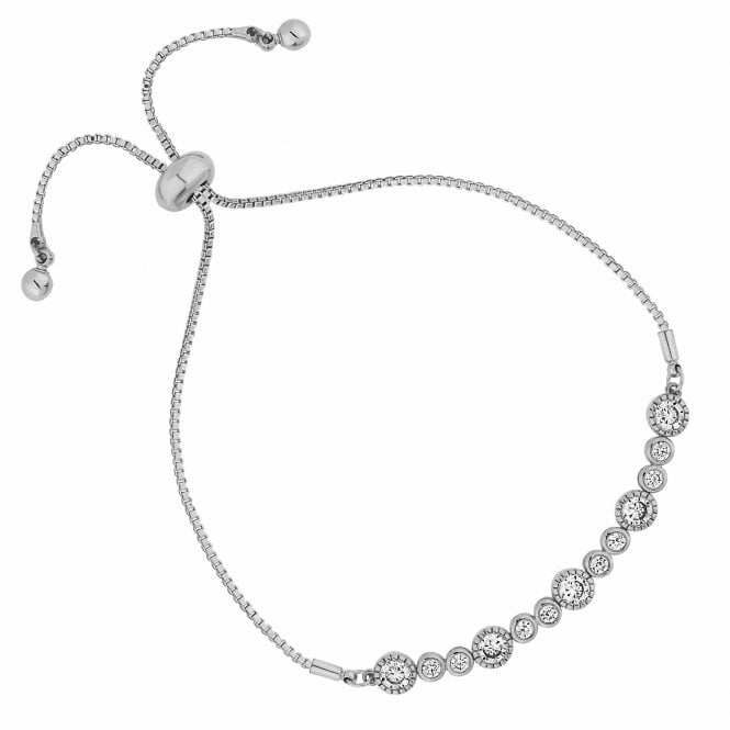 Silver Crystal Multi Circle Toggle Bracelet