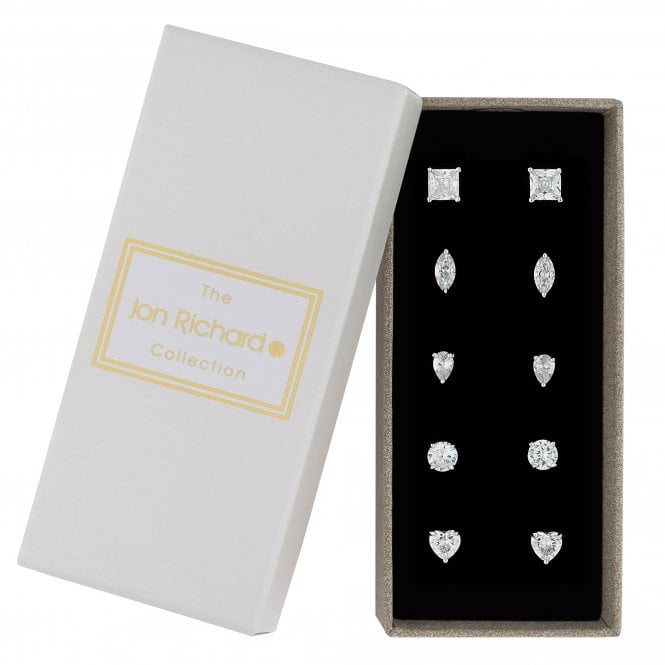 Silver crystal multi cut stud earring set
