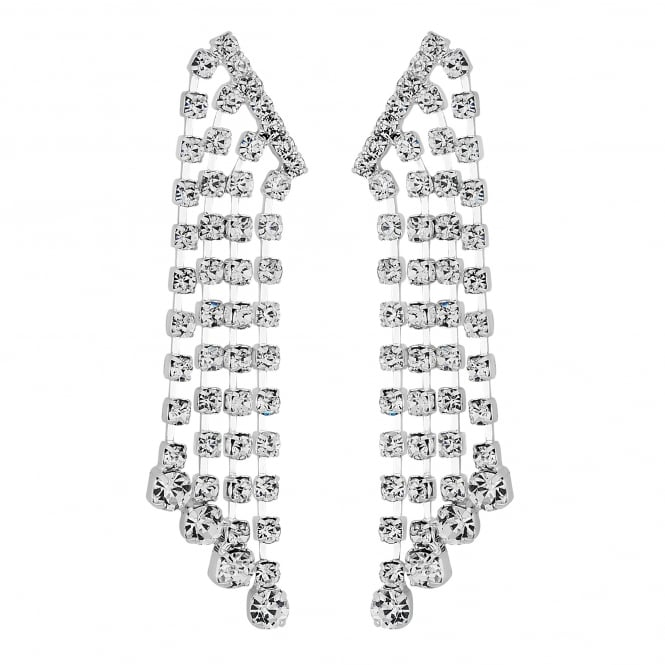 Silver crystal multi droplet earring