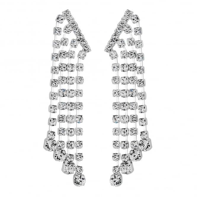 Silver crystal multi droplet earring