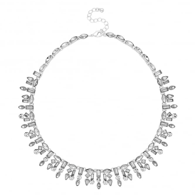 Silver crystal multi shape collar necklace