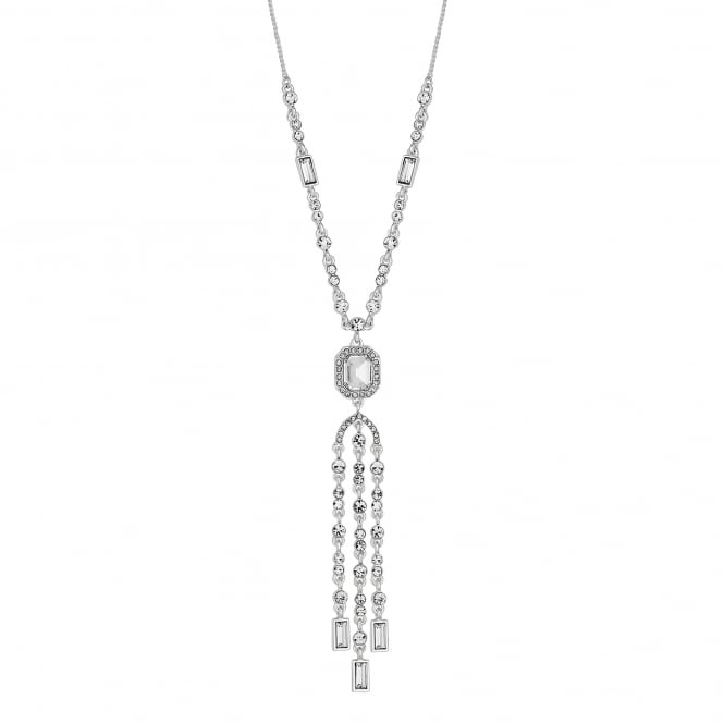 Silver crystal multi tassel drop necklace
