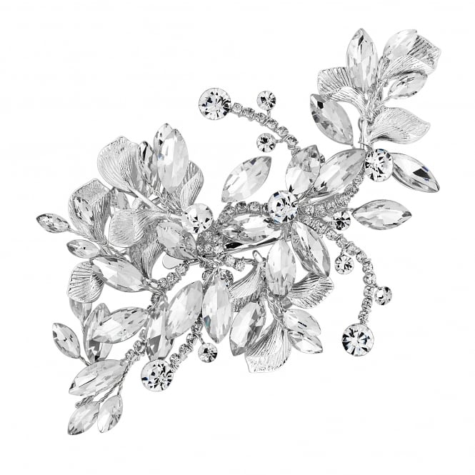 Silver Crystal Navette Spray Hair Clip