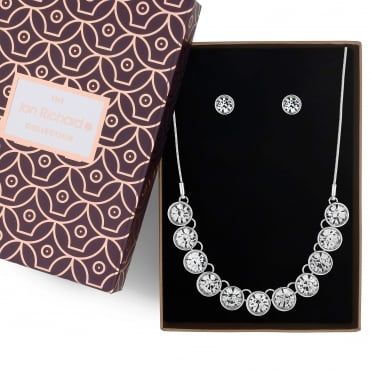 Silver crystal necklace and earring set