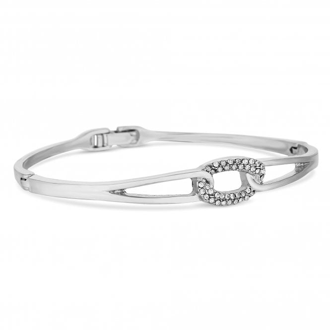 Silver Crystal Oval Link Bangle