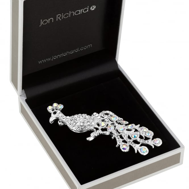 Jon Richard Silver Crystal Peacock Brooch In A Gift Box