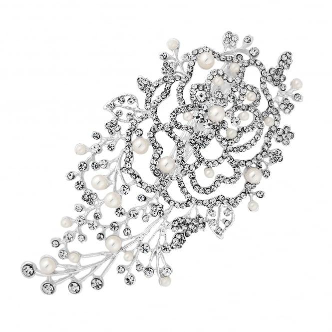 Silver Crystal Pearl Leaf Hair Clip