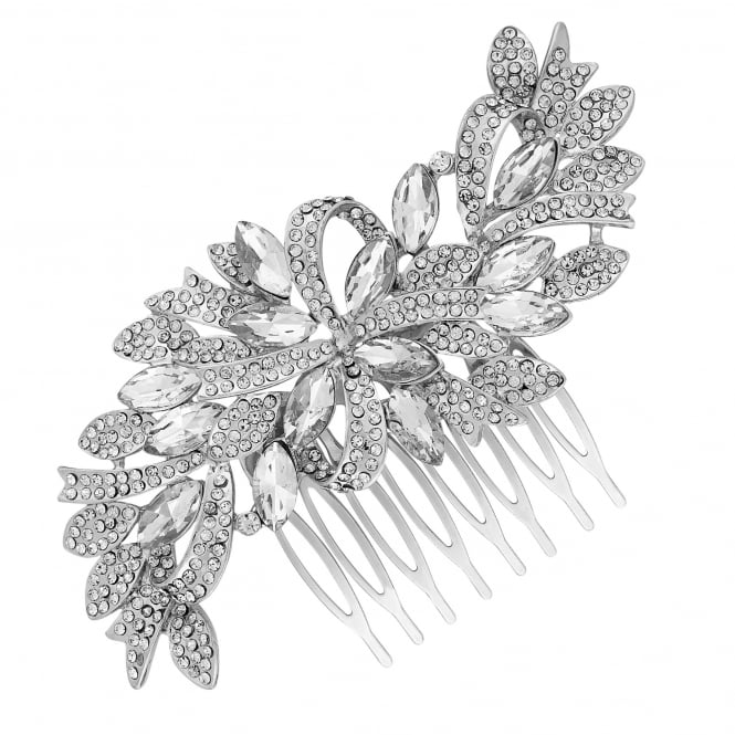 Silver Crystal Ribbon Swirl Hair Comb