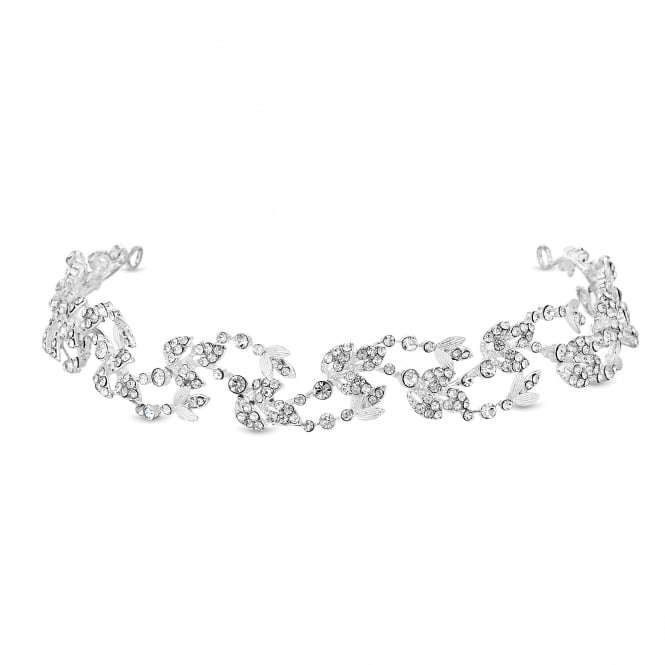 Jon Richard Silver Crystal Ribbon Swirl Headband