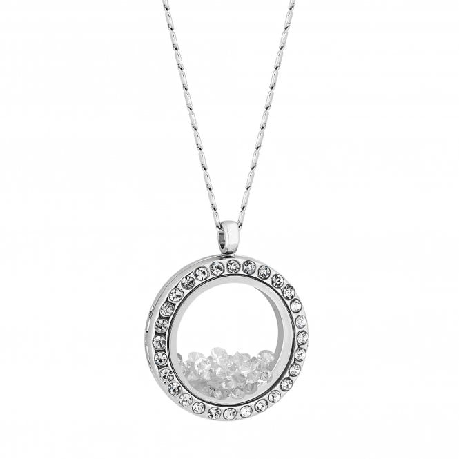Silver Crystal Shaker Locket Pendant Necklace
