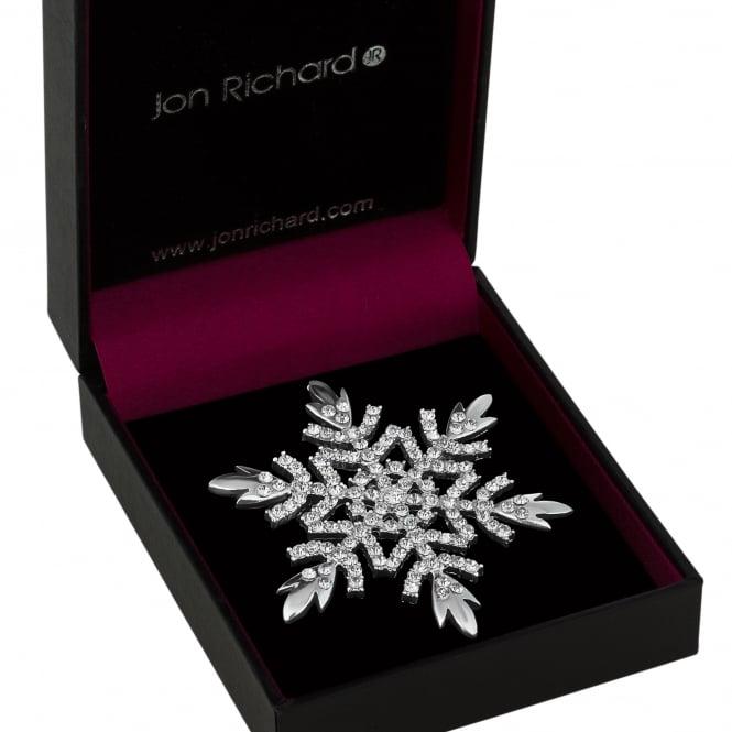 Silver Crystal Snowflake Brooch