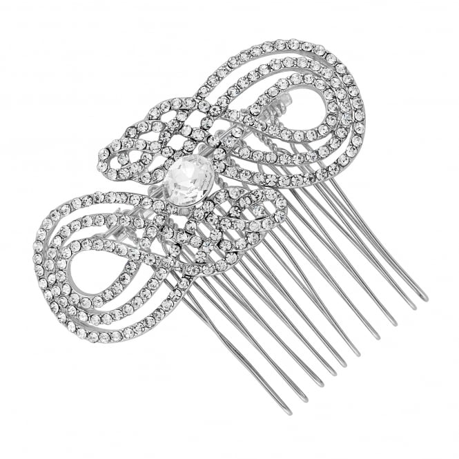Silver crystal swirl hair comb