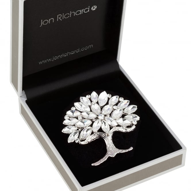 Jon Richard Silver Crystal Tree Of Life Brooch In A Gift Box