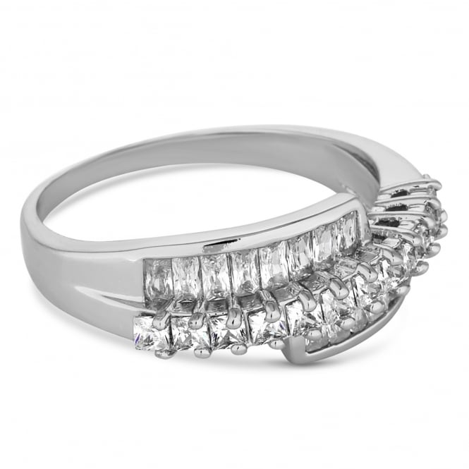 Silver crystal twist ring