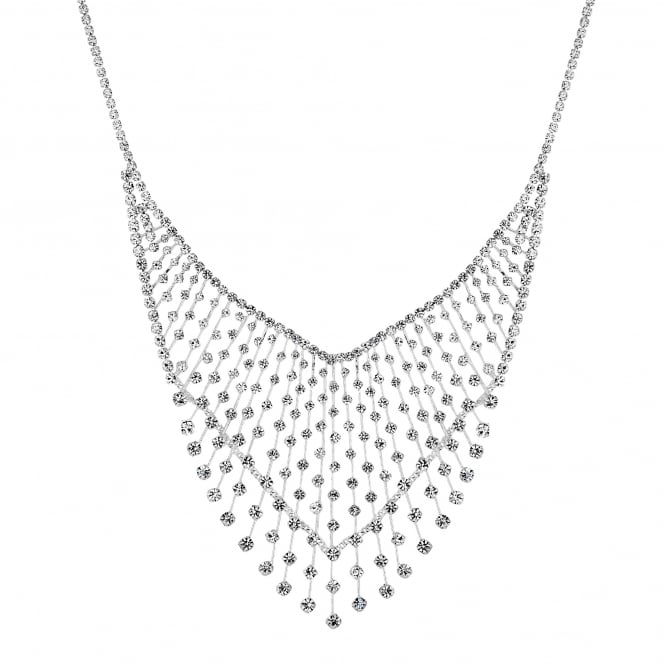 Silver crystal v collar necklace