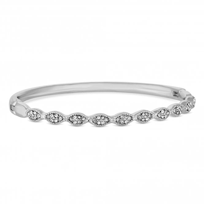 Silver Crystal Wave Bangle