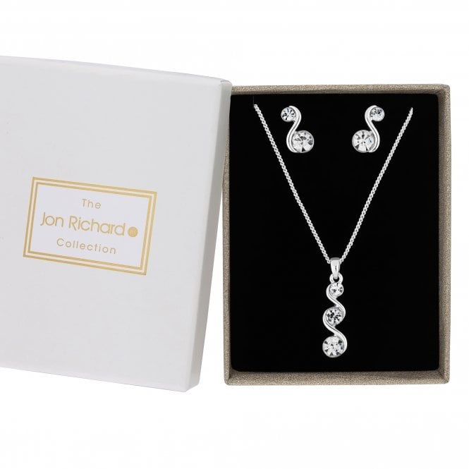 Silver Crystal Wave Jewellery Set In A Gift Box