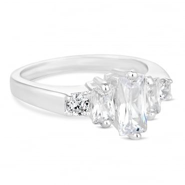 Silver cubic zirconia baguette ring