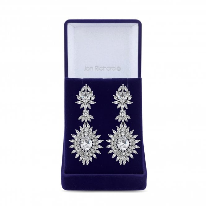 Silver Cubic Zirconia Burst Statement Drop Earring