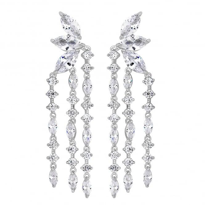 Silver cubic zirconia droplet earring
