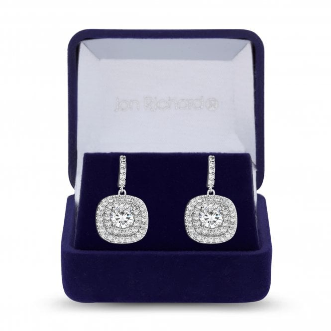 Silver Cubic Zirconia Embellished Square Drop Earring