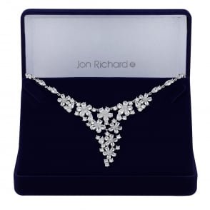 Jon Richard Silver cubic zirconia floral cluster necklace