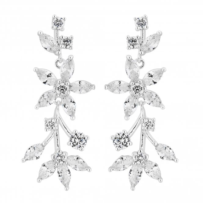 Silver Cubic Zirconia Floral Vine Drop Earring