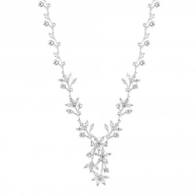 Silver Cubic Zirconia Floral Vine Statement Necklace