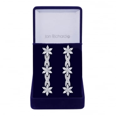 Silver cubic zirconia flower and leaf earring