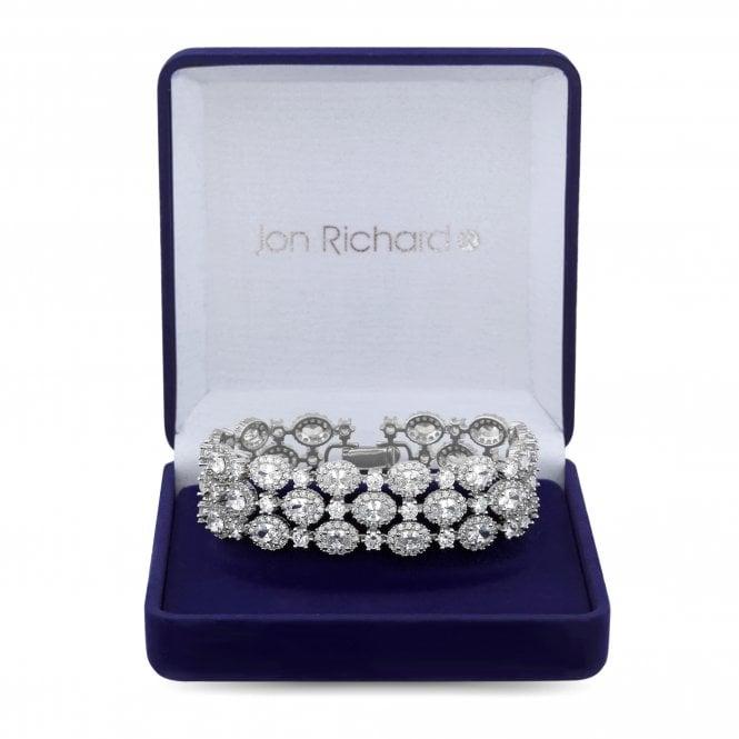 Silver Cubic Zirconia Halo Cluster Bracelet