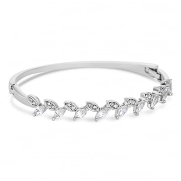 Silver cubic zirconia pave floral bangle