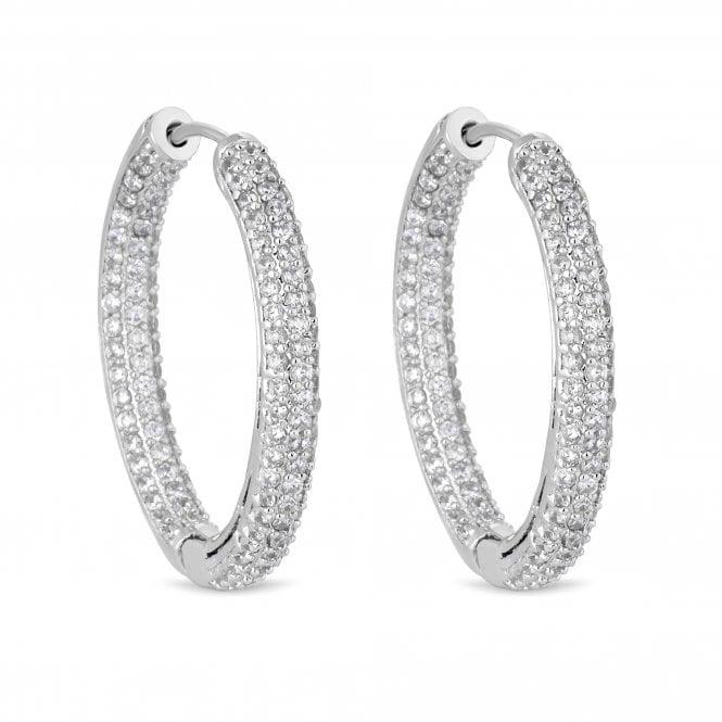 Silver Cubic Zirconia Pave Hoop Earring