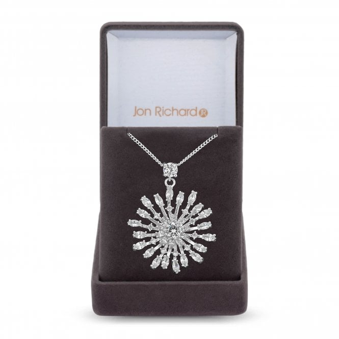 Silver Cubic Zirconia Star Burst Pendant Necklace