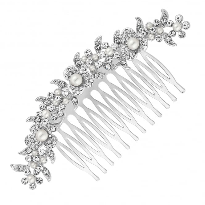 Jon Richard Silver Curved Floral Crystal Hair Comb