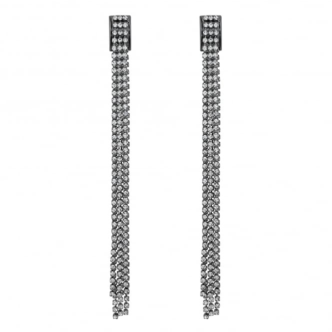 Jon Richard Silver diamante chain drop earring