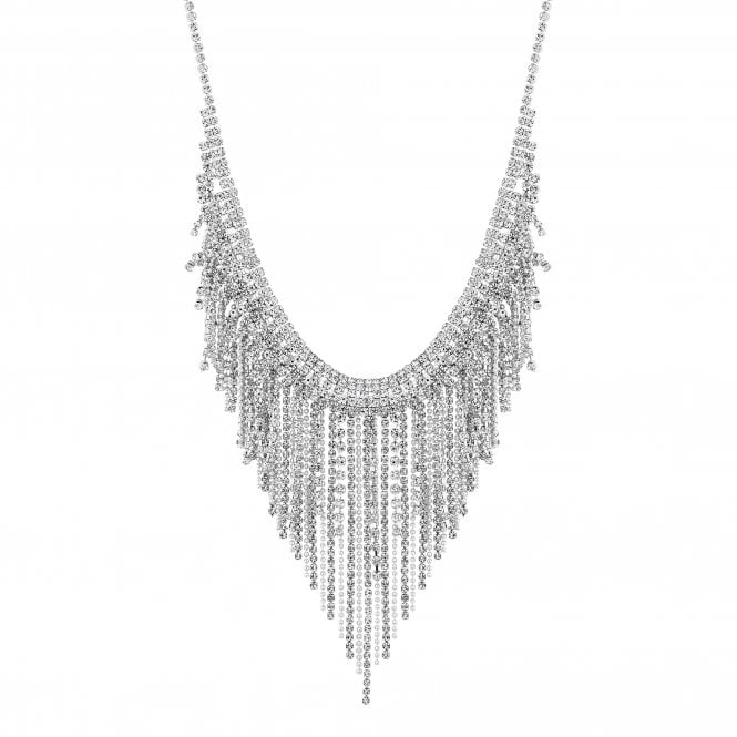 Silver Diamante Chain Statement Necklace