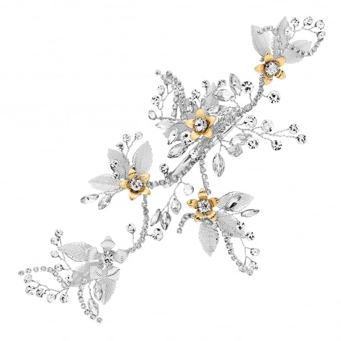 Silver Diamante Crystal Flower Hair Clip