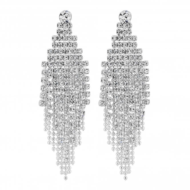 Silver Diamante Statement Drop Earring