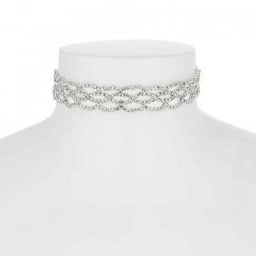 Silver diamante weave choker necklace