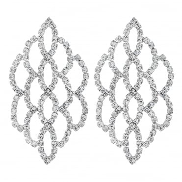 Silver diamante weave drop earring