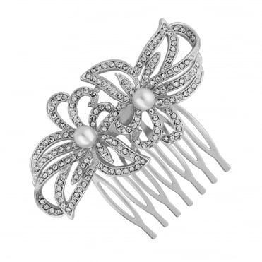 Silver double flower hair comb