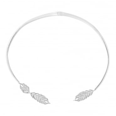 Silver feather torque necklace