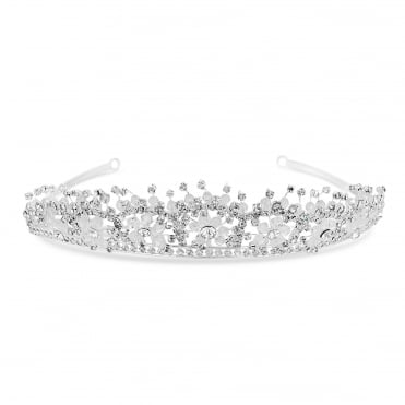 Silver Floral Beaded Tiara