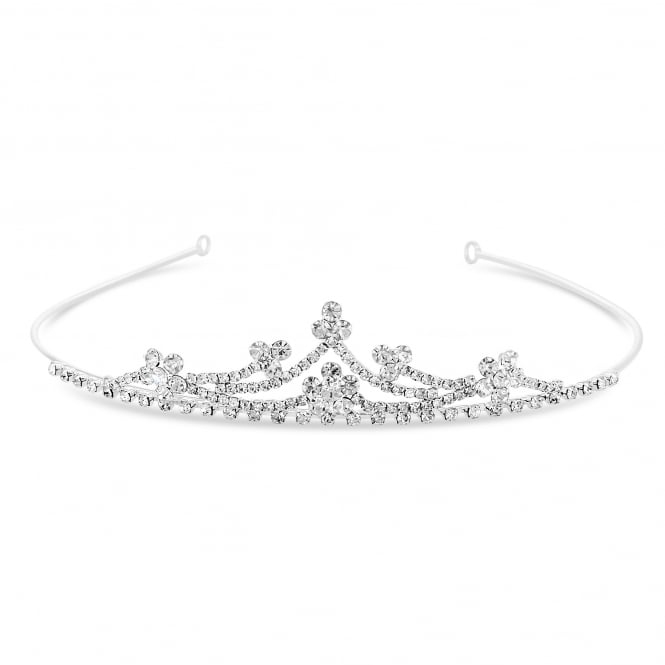 Silver Floral Crystal Cluster Small Tiara