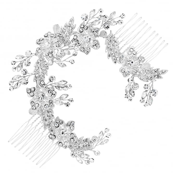 Silver Floral Crystal Double Hair Comb